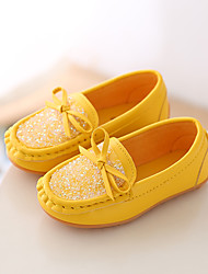 Girls' Boat Shoes Spring Fall Comfort PU Casual Flat Heel Black Yellow Red Blue Blushing Pink