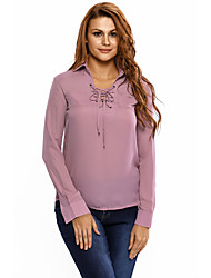 Women's Chiffon Lace up Hi-low Long Sleeves Top