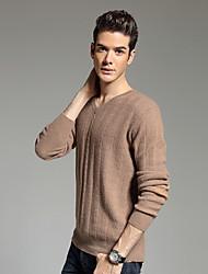 Мужчины На каждый день Простое Обычный Пуловер Однотонный,Красный / Коричневый / Серый V-образный вырез Длинный рукав Шерсть / Хлопок
