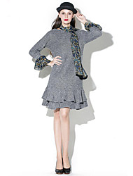 Women's Casual/Daily Sophisticated Skater Dress,Solid Round Neck Knee-length Long Sleeve Gray Cotton / Polyester Spring / Fall Mid Rise