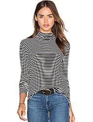 Damen Gestreift Einfach T-shirt,Rundhalsausschnitt Herbst Langarm Schwarz Baumwolle Mittel