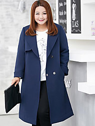 MsShe Women's Plus Size / Casual/Daily Simple Trench CoatSolid V Neck Long Sleeve Fall Blue Polyester Medium