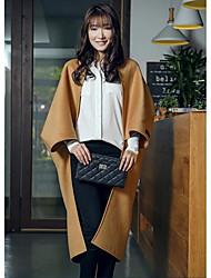 Damen Solide Einfach Lässig/Alltäglich Mantel,Winter V-Ausschnitt Langarm Beige Mittel Wolle