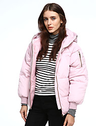 Women's Regular Padded Coat,Simple Going out / Casual/Daily Solid-Polyester Polypropylene Long Sleeve HoodedPink / White / Black / Brown