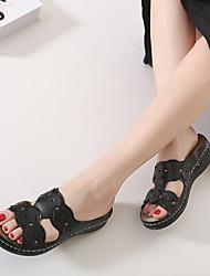 Women's Sandals Summer Slingback PU Casual Platform Flower Black / White Others