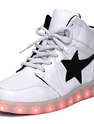 LED Light Up Shoes, Unisex Sneakers Spring Fall Winter Crib Shoes Ankle Strap PU Casual Athletic Flat Heel Lace-up Black WhiteBasketball Fitness &