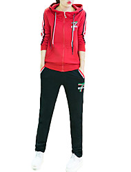 Women's Sports Active Winter Set Pant Suits,Color Block Hooded Long Sleeve Blue / Red / Black / Gray Polyester