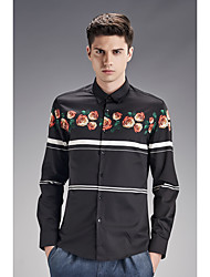 Men's Wedding / Work Vintage / Street chic All Seasons Shirt,Solid Shirt Collar Long Sleeve Black Cotton