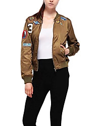 Women's Casual/Daily Embroidery Jackets,Letter Stand Long Sleeve Autumn Black / Green Polyester Medium