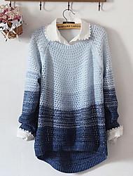 Для женщин На каждый день Простое Обычный Пуловер Контрастных цветов,Круглый вырез Длинный рукав Хлопок Весна Осень Средняя