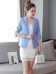 Women's Work Simple All Seasons BlazerSolid V Neck  Sleeve Blue / White / Yellow Cotton / Polyester Medium