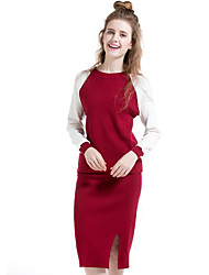 Women's Casual/Daily Simple Skirt Suits,Color Block Round Neck Long Sleeve Red / Black Wool