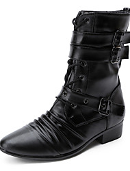 Men's Fashion Motorcycle Boots Comfort Leather Boots Casual Combat Boots Low Heel Lace-up / Buckle Black Walking