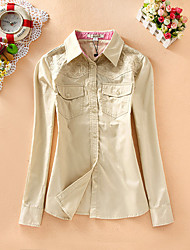 Women's Casual/Daily Simple Shirt,Print / Embroidered Shirt Collar Long Sleeve Multi-color Cotton