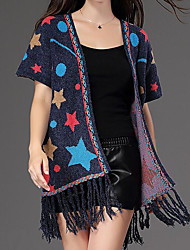 Women's Casual/Daily Party/Cocktail Simple Regular Cardigan,Print Blue Red Black V Neck Long Sleeve Cotton Fall Medium Micro-elastic