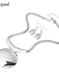 Brand New Arrival Exquisite Geometric Silver Plated Alloy Jewelry Set Earring and Necklace for Women JS140029
