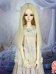 Synthetic Doll Accessories Long Straight Beige Color for 1/3 1/4 Bjd SD DZ MSD Doll Costume Wig Not for Human Adult