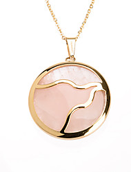 Sweet Pink Acrylic Inlay 316L Stainless Steel Pendant Necklace