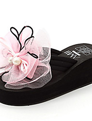 Women's Slippers & Flip-Flops Summer Slingback Fabric Casual Wedge Heel Imitation Pearl Flower Black Pink Others