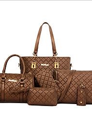 Women Bag Sets Cowhide All Seasons Casual Office & Career Shopper Zipper Beige Dark Blue Coffee Brown Golden