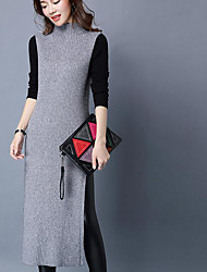 Women's Going out Simple Sweater Dress,Solid Crew Neck Midi Sleeveless Red / White / Black / Gray Polyester Spring / Fall High Rise