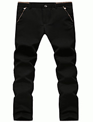 Men's Skinny Business Pants,Work Simple Solid Mid Rise Zipper / Button Cotton Micro-elastic Spring / Fall