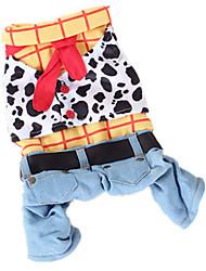 Dog Costume Clothes/Jumpsuit Dog Clothes Cowboy Fashion Jeans Rainbow