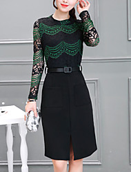 Women's Going out Plus Size Street chic A Line Lace Dress,Patchwork Lace Split Stand Knee-length Long Sleeve Polyester Green Purple Fall