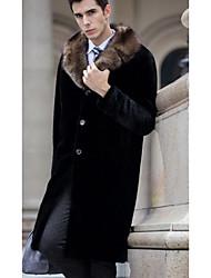 Men's Going out Vintage / Simple Fur Coat,Solid Round Neck Long Sleeve Black Faux Fur Medium