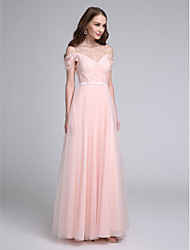2017 Lanting Bride® Floor-length Lace / Tulle Bridesmaid Dress A-line Spaghetti Straps with Lace / Sash / Ribbon