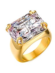 Women's Ring Statement Rings Marriage Jewelry Christmas/Party/Daily/Wedding /Casua Fashion Stainless Steel/Cubic Zirconia/Gold Plated Golden 1pc Gift