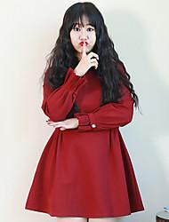 Feminino Solto Vestido,Casual / Tamanhos Grandes Simples Sólido Colarinho Chinês Acima do Joelho Manga Longa VermelhoAlgodão / Fibra
