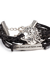 Women's Wrap Bracelet Leather Bracelet Bracelet Loom Bracelet Leather Alloy Punk Black Jewelry 1pc