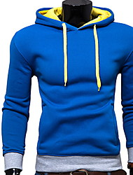 Men's Sports / Holiday Active Regular Hoodies,Solid Blue / Red / Black / Gray / Green Hooded Long Sleeve Cotton Spring / Fall Medium