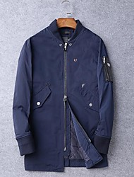 Men's Short Padded Coat,Simple Casual/Daily Solid-Cotton Cotton Long Sleeve Stand Blue / Black