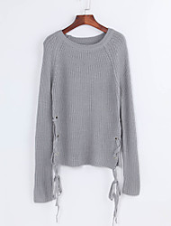 Normal Pullover Femme Décontracté / Quotidien Chic de Rue,Couleur Pleine Gris Col Arrondi Manches Longues Polyester Automne / Hiver Fin