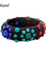 Brand Newest Vintage Trendy Oval Shape Colorful Alloy Resin Stone Bangle Bracelets For Christmas Gift BL140139