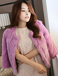 Women's Casual/Daily Simple Fur Coat,Solid Round Neck ¾ Sleeve Fall Pink / White / Black Rabbit Fur