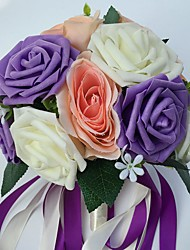 """Wedding Flowers Round Roses Bouquets Wedding Party/ Evening Satin Foam 9.84""""(Approx.25cm)"""