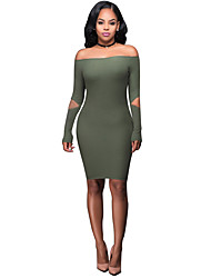 Women's Sexy Boat Neck Solid Bodycon Long Sleeve Dress