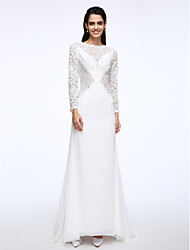LAN TING BRIDE A-line Wedding Dress See-Through Sweep / Brush Train Bateau Chiffon Lace with Lace