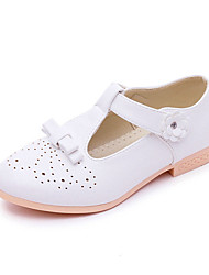 Girls' Flats Comfort PU Spring Fall Casual Outdoor Dress Comfort Bowknot Magic Tape Flat Heel White Black Ruby Blushing Pink Under 1in
