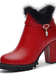 Women's Boots Winter Comfort Leatherette Wedding Dress Party & Evening Chunky Heel Others Black Burgundy Others