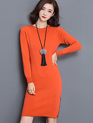 Women's Beach Chinoiserie Sweater Dress,Solid Round Neck Midi Long Sleeve Orange Cotton / Polyester All Seasons Mid Rise Micro-elastic