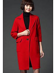 Feminino Casaco Casual Simples Outono / Inverno,Sólido Azul / Vermelho / Marrom / Cinza Lã Colarinho de Camisa-Manga ¾ Média