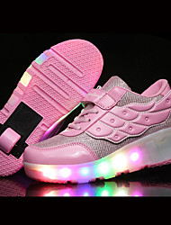 Kids Boy Girl Roller Skate Shoes / Ultra-light Single Wheel Skating LED Light Shoes / Athletic / Casual LED Shoes with Wings / Pink Black