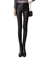 Feminino Skinny Chinos Calças-Cor Única Casual Simples Cintura Alta Elasticidade PU Stretchy Outono / Inverno