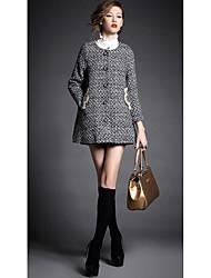 Manteau Femme,Pied-de-poule Décontracté / Quotidien simple Manches Longues Gris Polyester Moyen Automne / Hiver