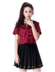 Cosplay Costumes Festival/Holiday Halloween Costumes Wine Red Solid Top / Skirt Female
