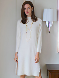 ANGEL Women's Going out Simple Shift / Sweater DressSolid Round Neck Above Knee Long Sleeve White / Black Wool / Others Spring / Fall Mid Rise